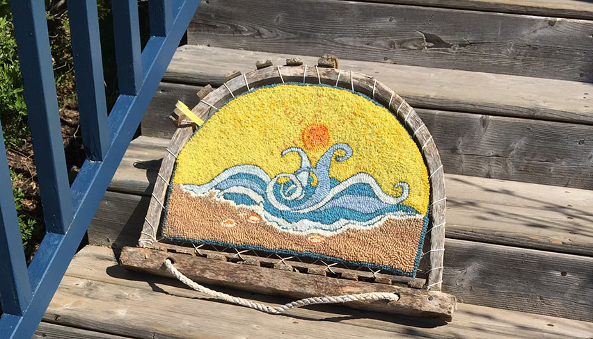 Rug hooking art at Watermark